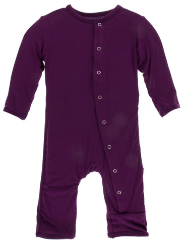 KicKee Pants Solid Wine Grapes Coverall with Snaps