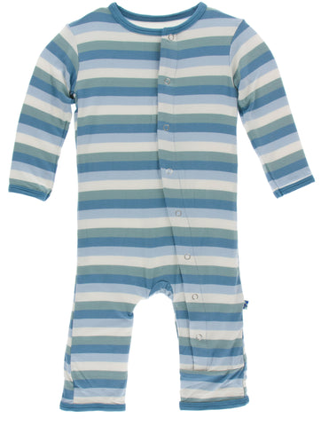 KicKee Pants Oceanography Stripe Coverall with Snaps