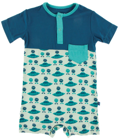 KicKee Pants Aloe Aliens with Flying Saucers Color Block Henley Romper