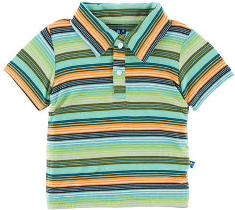 KicKee Pants Cancun Glass Stripe Short Sleeve Polo