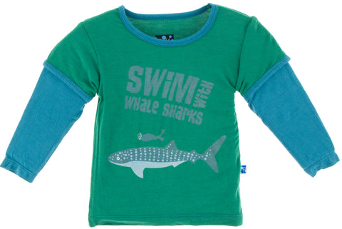 KicKee Pants Shady Glade Swim w/Whale Shark LS Double Layer Tee