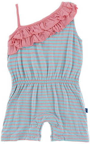 KicKee Pants Strawberry Stripe Diagonal Ruffle Romper