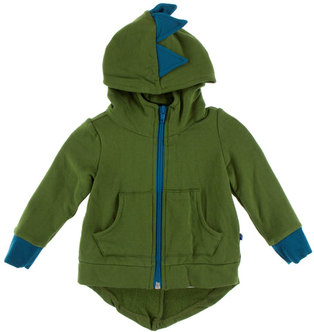 KicKee Pants Fleece Dino Hooded Jacket-Moss with Heritage Blue
