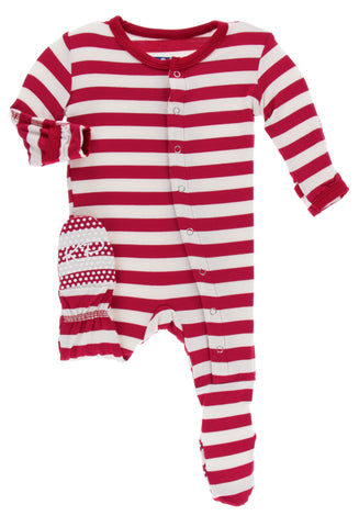KicKee Pants Candy Cane Stripe 2019 Footie with Snaps Basically Bows & Bowties