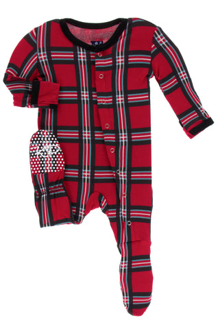 KicKee Pants Christmas Plaid 2019 Footie with Snaps Basically Bows & Bowties