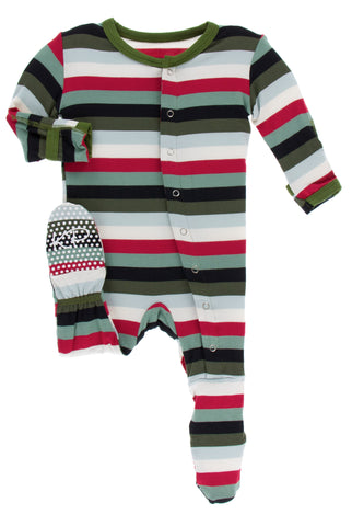 KicKee Pants Christmas Multi Stripe Footie with Snaps Basically Bows & Bowties