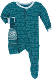 KicKee Pants Heritage Blue Wind Footie with Zipper