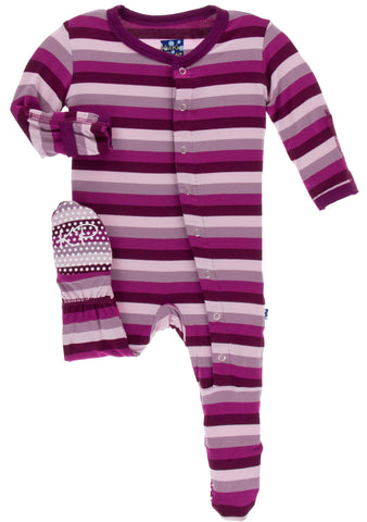 KicKee Pants Coral Stripe Footie with Snaps