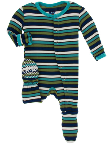 KicKee Pants Botany Grasshopper Stripe Footie with Snaps