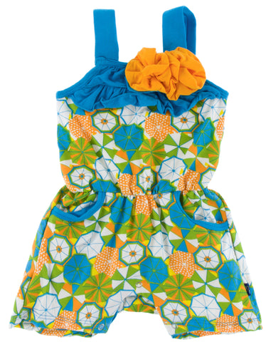 KicKee Pants Beach Umbrellas Flower Romper w/Pockets - Basically Bows & Bowties