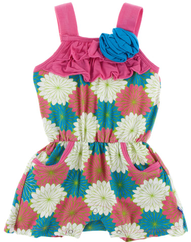 KicKee Pants Flamingo Tropical Flowers Flower Romper w/Pockets