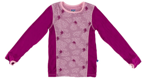 KicKee Pants Pegasus Coral Fans L/S Fitted Tee with Thumbhole Basically Bows & Bowties