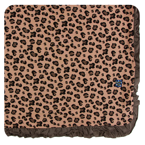 KicKee Pants Suede Cheetah Ruffle Toddler Blanket