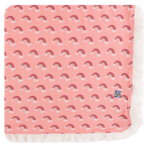 KicKee Pants Blush Rainbow Ruffle Toddler Blanket Basically Bows & Bowties