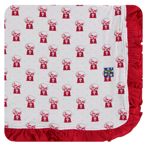 KicKee Pants Natural Gumball Machine Ruffle Toddler Blanket - Basically Bows & Bowties