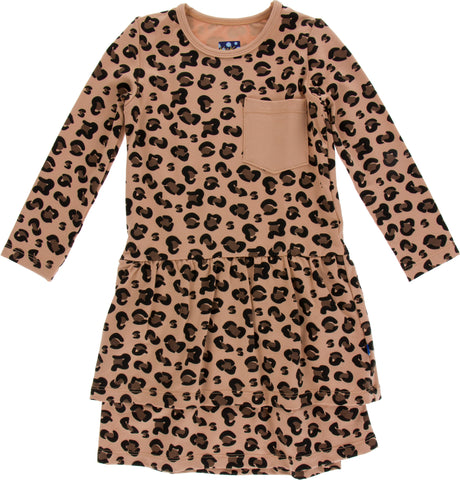 KicKee Pants Suede Cheetah Drop Waist Performance Jersey Dress