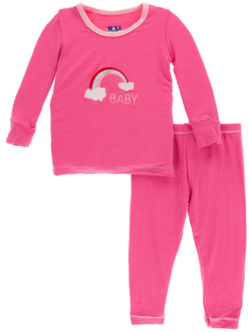 KicKee Pants Flamingo Rainbow Baby Applique Long Sleeve Pajama Set Basically Bows & Bowties