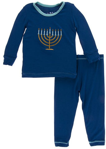 KicKee Pants Menorah Applique Long Sleeve 2pc Pajama Set