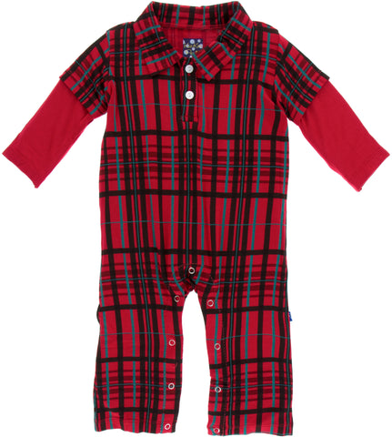 KicKee Pants Christmas Plaid L/S Double Layer Polo Romper