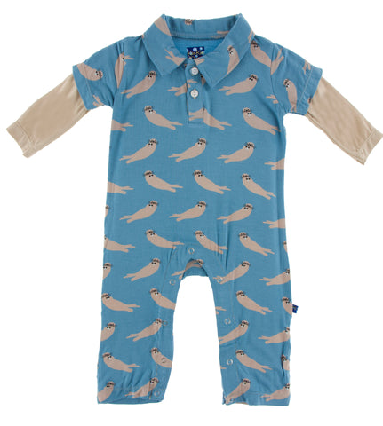 KicKee Pants Blue Moon Sea Otter Double Layer L/S Polo Romper