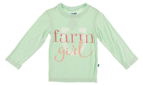 KicKee Pants Pistachio Farm Girl L/S Piece Print Easy Fit Crew Neck Tee