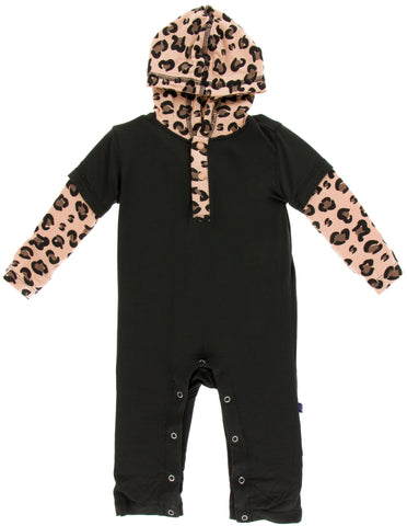 KicKee Pants Zebra with Suede Cheetah Print Long Sleeve Hoodie Romper