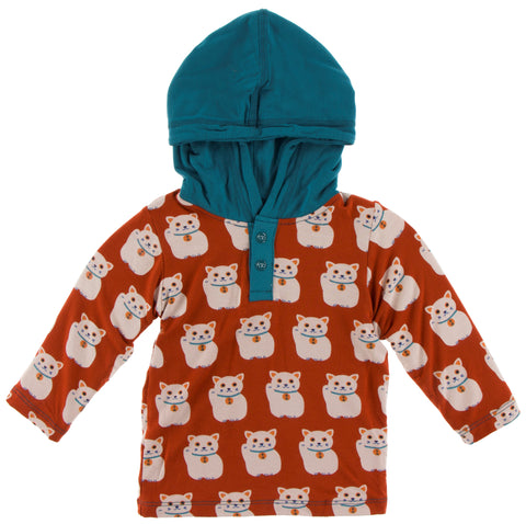 KicKee Pants Lucky Cat Long Sleeve Hoodie Tee