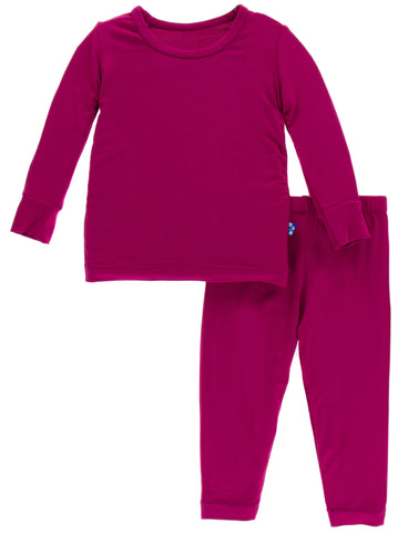 KicKee Pants Solid Dragonfruit L/S Pajama Set