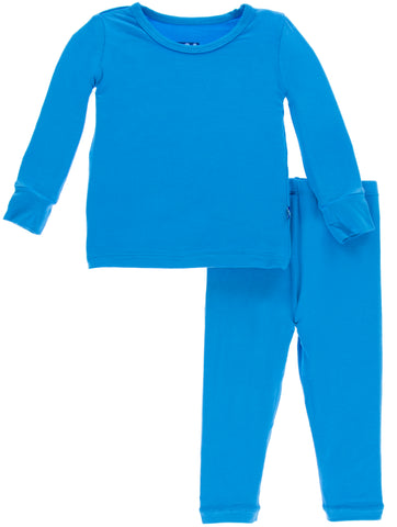 KicKee Pants Solid River Long Sleeve 2pc Pajama Set