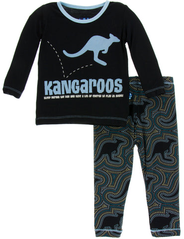 KicKee Pants Midnight Kangaroo Long Sleeve 2pc Pajama Set - Basically Bows & Bowties