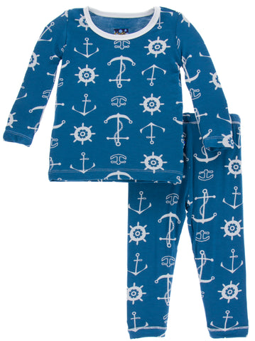 KicKee Pants Twilight Anchor Long Sleeve 2pc Pajama Set