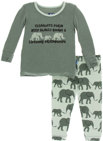 KicKee Pants Aloe Elephants Long Sleeve Pajama Set-PRESALE - Basically Bows & Bowties