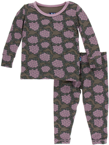 KicKee Pants African Violets Long Sleeve Pajama Set - Basically Bows & Bowties