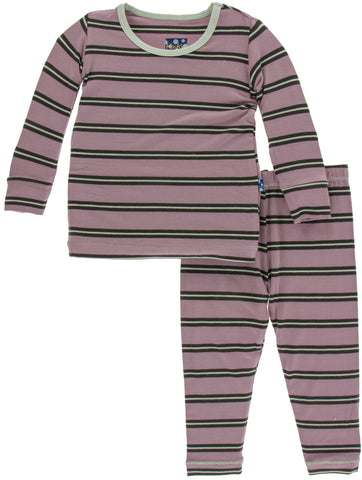 KicKee Pants Elderberry Kenya Stripe Long Sleeve Pajama Set