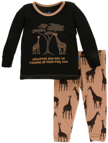KicKee Pants Suede Giraffes Long Sleeve Pajama Set