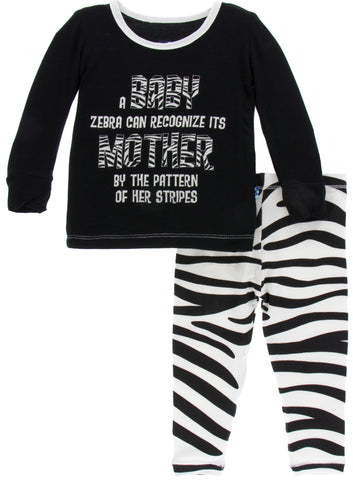 KicKee Pants Natural Zebra Long Sleeve Pajama Set