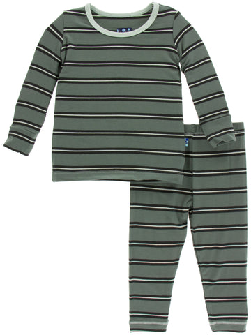 KicKee Pants Succulent Kenya Stripe Long Sleeve Pajama Set