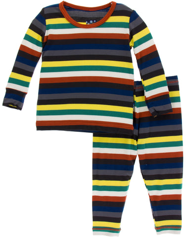 KicKee Pants Dark London Stripe Long Sleeve Pajama Set