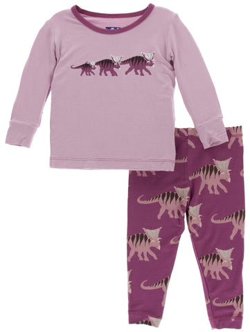 KicKee Pants Amethyst Kosmoceratops Family Long Sleeve Pajama Set with... Basically Bows & Bowties