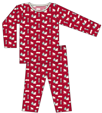 KicKee Pants Crimson Puppies and Presents All Over Long Sleeve Pajama Set Basically Bows & Bowties