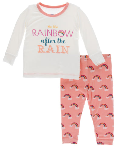 KicKee Pants Blush Rainbow After the Rain Long Sleeve Pajama Set Basically Bows & Bowties