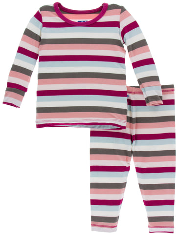 KicKee Pants Geology Stripe Long Sleeve Pajama Set Basically Bows & Bowties