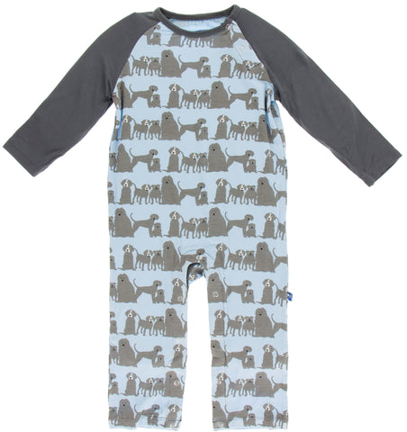 KicKee Pants London Dogs Long Sleeve Raglan Romper