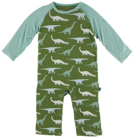 KicKee Pants Moss Sauropods Long Sleeve Raglan Romper Basically Bows & Bowties