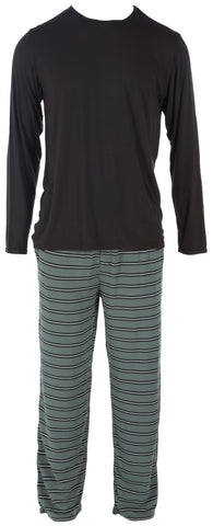 KicKee Pants Succulent Kenya Stripe Men's Long Sleeve Pajama Set
