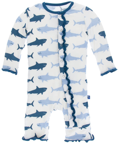 KicKee Pants Natural Megalodon Muffin Ruffle Coverall with Snaps