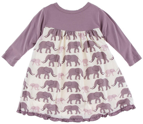 KicKee Pants Natural Elephants Classic KP Long Sleeve Swing Dress
