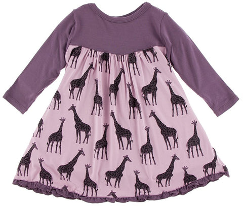 KicKee Pants Sweet Pea Giraffe Classic KP Long Sleeve Swing Dress