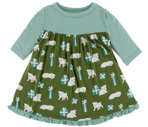 KicKee Pants Moss Puppies and Presents Classic Long Sleeve Swing Dress Basically Bows & Bowties