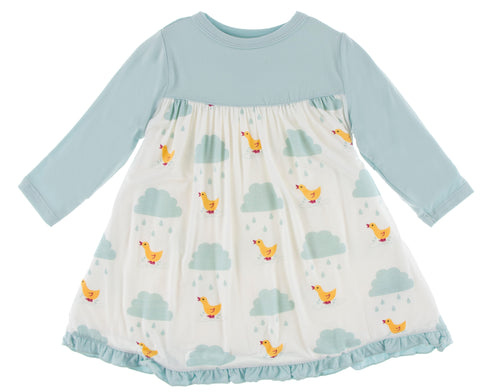 KicKee Pants Natural Puddle Duck L/S Swing Dress
